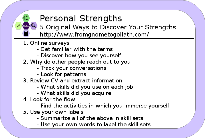 Personal Strengths Cheat Card