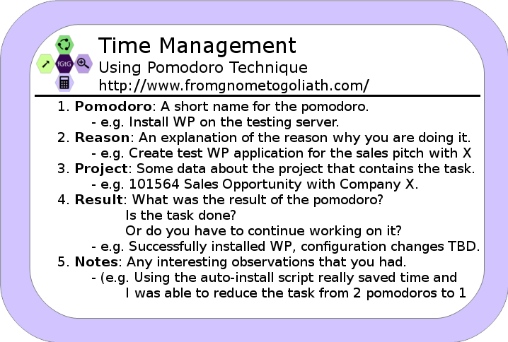 Time Management: Using Pomodoro Technique Cheatcart
