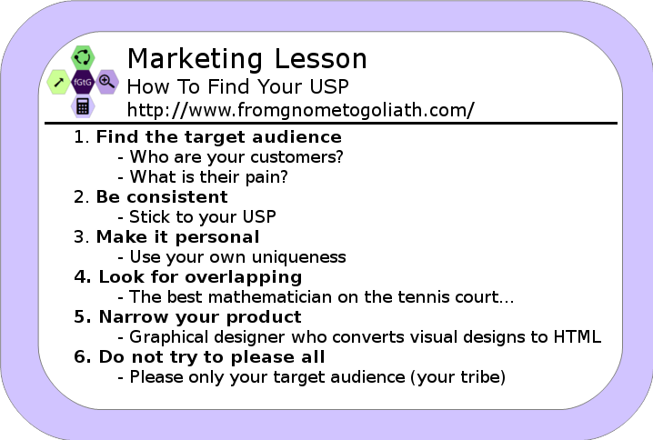 Marketing lesson - 6 tips on how to find your USP