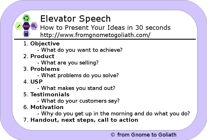 Elevator speech - the most important steps