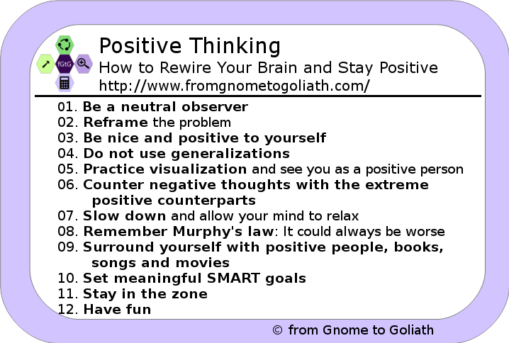 Positive Thinking - 12 tips to make you stay postive