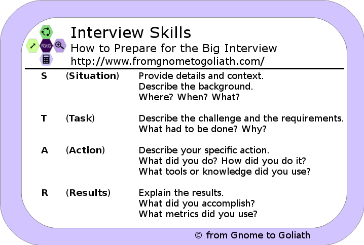 Interview skills - the STAR technique