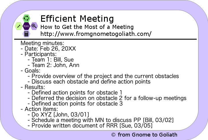Efficient Meeting - Sample Meeting Minutes