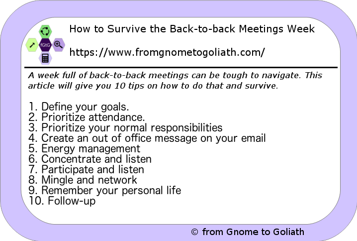 Back-to-back meetings tips