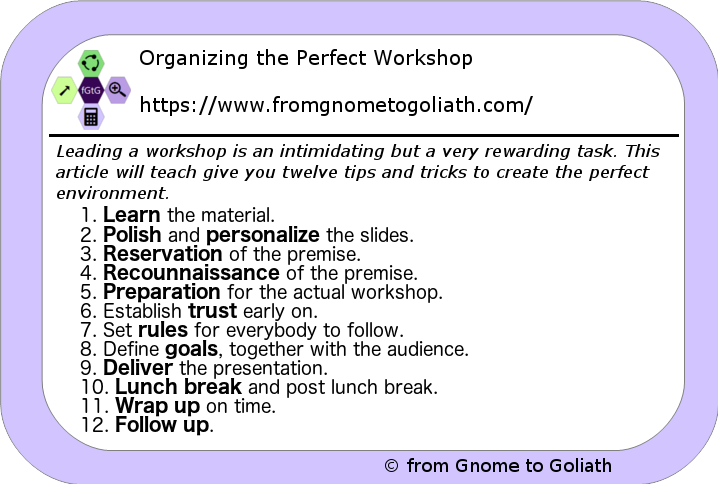 Organize the Perfect Workshop
